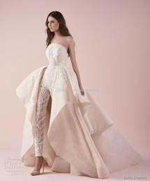 Wholesale Plus Size Strapless Jumpsuit - full embellishment jumpsuit overskirt wedding dresses 2018 saiid kobeisy bridal strapless straight across neckline wedding gowns