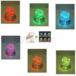 Wholesale Club Bamboo - Wholesale- Free Shipping 1X LED Coaster Color Change Light Up Drink Cup Mat Tableware Glow Bar Club Party