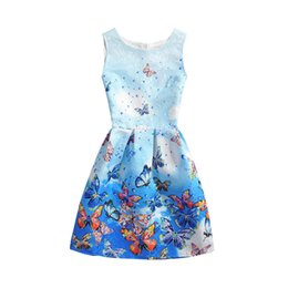 Wholesale Big Clothing For Kids - Big Girls dresses Only beautiful lace jacquard butterfly princess dress for children sleeveless printed dress 2017 summer kids clothes T2594