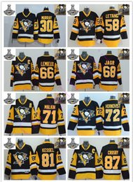Wholesale Blue Penguin - 2017 Champions Stitched NHL Pittsburgh Penguins #87 Sidney Crosby 71 Malkin 66 Lemieux 81 Kessel 30 72 White Black yellow Hockey Jerseys Ice