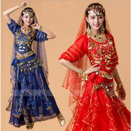 Wholesale Bollywood Dresses - q0228 Belly Dance Costume Bollywood Costume Indian Dress Bellydance Dress Womens Belly Dancing Costume Sets