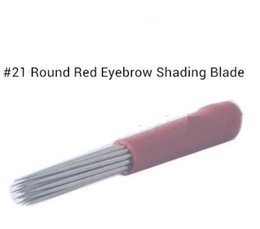 Wholesale Makeup For Eyebrows - 50pc Lot Eyebrows Embroidery Sterilized Microblading Needle #21 Round Red Shading Blade for Shadowing supplies 028