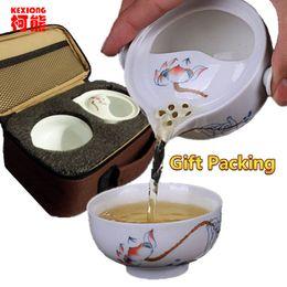 Wholesale Celadon Chinese Tea Set - Chinese Traditional teapot kettle Porcelain Cup Quik Cup Upscale Elegant Tureen Kung Fu Tea Set 1 Pot 1 Cup