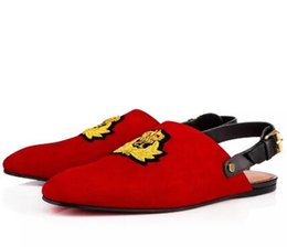 Wholesale Canvas Sandals Flats - Summer Luxury Design Loubs Oliveira Embroidery Suede Red Bottom Flat Sandals Men Summer Wedding Party Shoes Paris Men Perfers Shoes