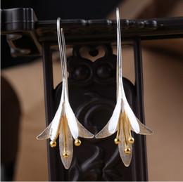 Wholesale Silver Hooks For Earrings - Charm Long Hook Earrings S925 Silver Sterling Flower Hanging Earrings Dangle Earrings Jewelry For Girls  Ladies