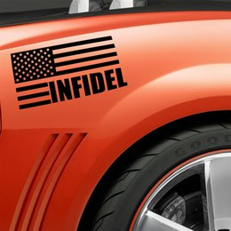 Wholesale Motorcycle Vinyl Wall Decals - Wholesale 10pcs lot Infidel Flag Patriotic Gun Rights Car Sticker for Motorhome Wall Motorcycles Laptop Car Decor Waterproof Vinyl Decal