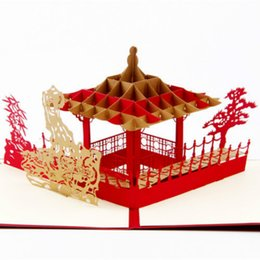 Wholesale Garden Invitations - 3D Laser Cut Paper Cutting Chinese Suzhou Gardens Greeting Cards Custom Postcards Business Party Invitation Card Souvenir Gift