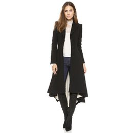 Wholesale Womens Long Blazers - 2017 Autumn New Women Long Coat Hidden Breasted Black Suit Loose Blazer Jacket Womens Tuxedo Plus Size Ladies Outerwear BZ002