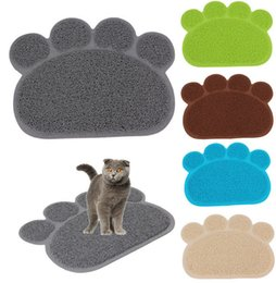 Wholesale Cat Feeding - Footprint Foot Sleeping Pad Placemat Cat Litter Mat Dog Puppy Cleaning Feeding Dish Bowl Table Mats PVC Paw Shape Style 30*40cm KKA1213