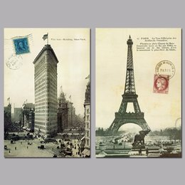 Wholesale Tower Building Wall Decor - 2 Pcs Set No Framed Poster City New York Paris Eiffel Tower Flat Iron Building Decoration Wall Art Pictures Canvas Paintings Home Decor