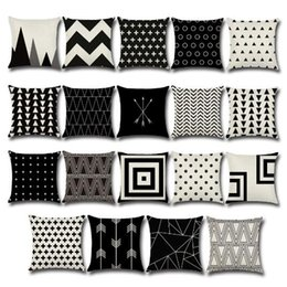 Wholesale Black Sofa Beds - 19 Styles 45*45cm Black White Ppillowcase Geometry Cushion Covers Cotton Linen Pillow Cover Sofa Bed Throw Pillow Case CCA7359 20pcs