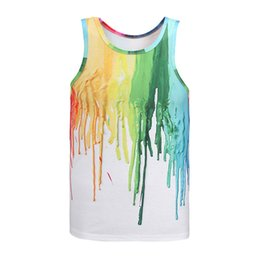 Wholesale Blending Oil Paints - Fashion 3d print summer wear singlets colorfull oil painting sport wear cool tank tops wholesale running gym singlet no sleeve t-shirt