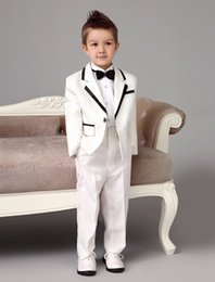 Wholesale Tuxedo Suit Models - white wedding ring bearer suits trend Boys Tuxedo With Black Bow Tie kids formal dress boys suits fashion kids suits