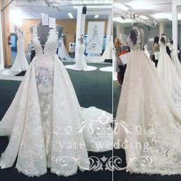 Wholesale See Through Short Gown - 2018 Gorgeous Lace Wedding Dresses Sheer Neck Sleeveless Appliques See Through Over Skirt Royal Church Wedding Gowns Luxury Bridal Dresses