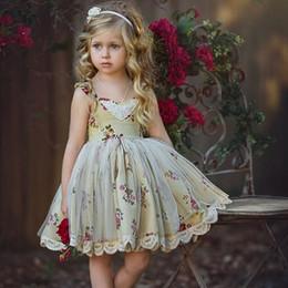 Wholesale Girls Vest Dresses Autumn - Hug Me Girls Dress Kids Clothing 2017 Summer Lace Tutu Dress Fashion Sleeveless Cotton Princess Vest Dress FF-227-33