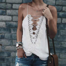 Wholesale Cheap Black Lace Tank Top - Cheap Women Crop Tops 2017 Summer Lace Patchwork Tank Tops Fashion Hollow Out Camisole Sexy Deep V Neck Vests Casual Chiffon Top