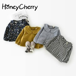 Wholesale Jacket Style Blouses - Korean Autumn Cotton Leaf Collar 0-1-2 Years Old Baby Jacket Girl Plaid Shirt Children Girl Top Blouse Girls School Blouses