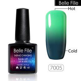 Wholesale Red Belle - Wholesale-BELLE FILLE 10ml Color Temperature Change Gel Polish Clear Color acrylic UV Gel Varnish Lacquer Home Manicure soak off polish