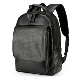Wholesale Black Leather Backpack For Men - Leather Men Backpack For Man 2017 Backpacks Black Backpacks Male Fashion Rucksack Schoolbags Black Backpack Business Laptop Bags