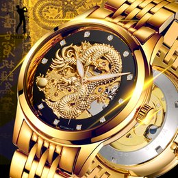 Wholesale Gold Skeleton Watches For Men - Dragon Skeleton Automatic Mechanical Watches For Men Wrist Watch Stainless Steel Strap Gold Clock 50m Waterproof Mens Hodinky Drop Shipping