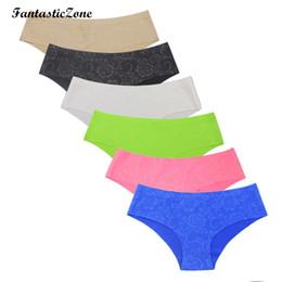 Wholesale Xl Women Bikinis Show - 2016 Brand Quality Briefs Seamless Panties Flower Print Underwear Women Sexy No Show Cheekster Panty bikini calcinha