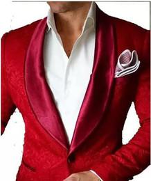 Wholesale Plus Size Floral Pants - 2017 Brand Red Mens Floral Blazer Designs Mens Paisley Blazer Slim Fit Suit Jacket Men Wedding Tuxedos Fashion Male Suits (Jacket+Pant)
