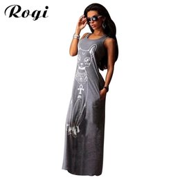 ab788cce042 Wholesale- Rogi Cat Print Long Maxi Dress Summer Boho Beach Bodycon Dresses  Vintage Sundresses Evening Party Dress Vestidos Mujer Plus Size