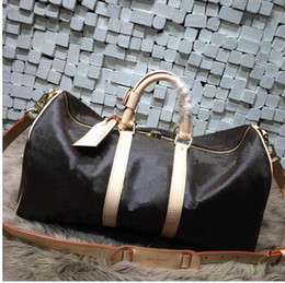 Wholesale Men Traveling Bags - 2017 Hot selling new fashion traveling bags high quality genuine leather 55cm keepall handbag free shipping