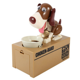 Wholesale Money Piggy Bank Toys - New Designer Puppy Hungry Eating Dog Coin Bank Money Saving Box Piggy Bank Children's Toys Decor Interesting Children's Gift