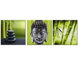 Wholesale Bamboo Wall Panels - Modern Interior Decoration Zen Picture Canvas Printing Artwork Buddha Bamboo Canvas Photo Prints Home Wall Decor 3 Panels