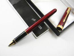 Wholesale Painted Metal Art - Parker Arrow Clip Hot Red Painting Golden Trim Rollerball Pen