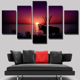 Wholesale Sun Painting Modern Art - 5 Pcs Set Beautiful A view of the sun rose on the lake picture Canvas Print Painting Modern Canvas Wall Art Gift