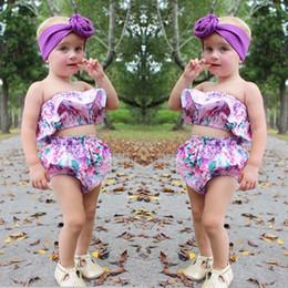 Cortocircuitos florales superiores del cordón de las muchachas online-2017 Mikrdoo Newborn Summer Toddler Kids Baby Girls Purple Floral Tube Top Shorts de encaje 2 UNIDS Outfit Moda Conjunto Flor Linda Princesa ropa