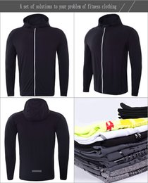 Wholesale Black Hooded Bodysuit - Men's Zipper Coat Bodysuit New Long Sleeve Fitness Suit Speed Dry Fitness Sports Jacket Fitness Clothes