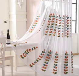 Wholesale Grommet Linen Curtains - Sheer Curtains Beautiful Sheer Window Elegance Curtains drape panels treatment Colorful embroidery leaves transparent screens