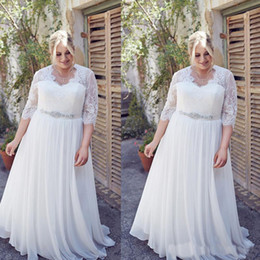 Wholesale New Arrival Women Chiffon Dress - 2017 Plus Size Wedding Dresses With Sleeves A-line Chiffon And Lace New Arrivals Big Women Bridal Gowns Custom Made Vestidos De Novia