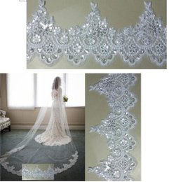 Wholesale Long Bridal Veil Beaded Lace - 2017 New Arrival Bling Bling Crystal Cheap Luxury Bridal Cathedral Bridal Veils Long Applique Beaded Custom-Made Wedding Veils
