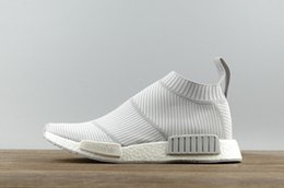Wholesale Rubber Floor Sock - NMD R1 City Sock Primeknit White Grey S32191 Mid Cut Sneakers with real boost bottoms size 5-13