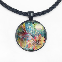 Wholesale Vintage Pendant Mens - Vintage Movie Hummingbird With Flower Mens chain Handmade New Fashion brass Necklace silver Pendant steampunk Jewelry Gift women