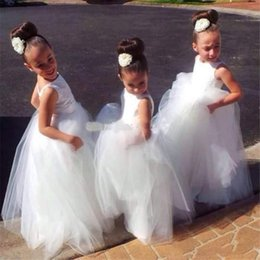 Wholesale Cheap Puffy Dresses - SOLOVEDRESS Cute Ivory Tulle Flower Girl Dresses Cheap Floor Length Ruffled Satin Puffy Wedding Girl Party Gowns New Arrival