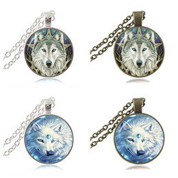 Wholesale Wiccan Charms Wholesale - Wicca Wolf Head Photo Necklace Pentagram Wiccan Pendant Animal Jewelry Pentacle Necklace Glass Cabochon Jewellery Charm Accessories