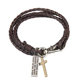 Wholesale Fine Gift Wrap - New Fashion Multilayer Wrap Bracelets Weave Leather Cross Charm Bangles With Big Lobster Clasp Women Sandy Beach Fine Jewelry Gift