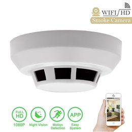 Wholesale Network Security Cam Hd - HD 1920*1080p Spy Smoke Detector Camera Night Vision Wifi Hidden Nanny Cam Motion Activated ,Wide Angle Security IP Network DV Cam PQ241