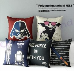 Wholesale Christmas Star Design - 220 Designs European Throw Pillow Cases Star Wars Pillow Covers Cartoon Cushion Covers Linen Christmas Pillow Case Cushion Cover NEW748