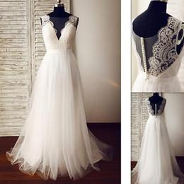 Wholesale V Neck Princess Line - 2017 Real Photo Cheap Wedding Dresses A-line Deep V-neck Tulle Appliques Lace Custom Made Bridal Gowns Beach Vestido De Noiva Simples