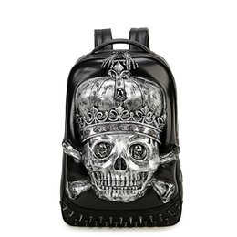 Wholesale Large Leather Laptop Backpacks - 3D Skull Laptop Notebook Backpacks for teenagers Cool Men's Backpack Large PU Leather Backpack With Rivet Special mochila