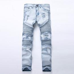 Wholesale Men S Denim Pants Wholesale - Wholesale- 2017 NEW Fashion mens Biker denim jeans homme fashion ripped jeans slim fitness men sylish casual jeans superstar