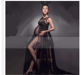 Wholesale Pregnancy Lace Long Dresses - 2017 Maternity Photography Props Black Clothes For Pregnant Women Dress Pregnancy clothes photography long maternity dress