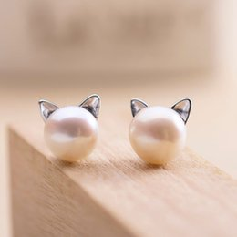 Wholesale Earring Freshwater Pearl - 5 pairs lot Real Pure 925 Sterling Silver Lovely Freshwater Pearl Cat Kitty Head Stud Earrings Women Statement Jewelry pendientes de plata
