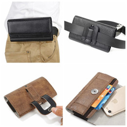 Wholesale Leather Case Iphone 5s - Hip Horizontal Holster Universal Leather For Galaxy S9 S8 S7 For Iphone X 8 7 Plus 6 6S SE 5 5S Stone Grain Black Purse Flip Clip Belt Pouch